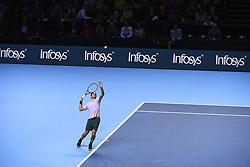 November 18, 2017 - London, England, United Kingdom - Roger Federer of Switzerland in action against David Goffin (7) of Belgium in their semi-final match today - Goffin def Federer 2-6, 6-3, 6-4 at O2 Arena on November 18, 2017 in London, England. (Credit Image: © Alberto Pezzali/NurPhoto via ZUMA Press)