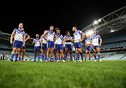 Bulldogs players dejected.<br /> North Queensland Cowboys v Canterbury-Bankstown Bulldogs, Round 2 of the Telstra Premiership Rugby League season on Thursday 19th March 2020.<br /> Copyright photo: © NRL Photos 2020
