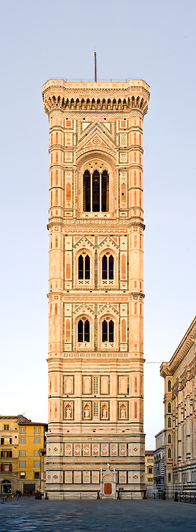 Early morning light on the bell tower of the Basilica di Santa Maria del Fiore, the duomo (cathedral) in Florence (Firenze). This is a very high resolution panorama
