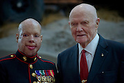 Former U.S. Senator and Astronaut John Glenn with U.S. Marine Corps Sergeant Isaac Gallegos at the Marine Heritage Foundations 33rd Annual Awards Dinner. Recognizing a series of awards to both Marines and civilian community members for exemplary work in advancing and preserving Marine Corps history.  Photo by Johnny Bivera