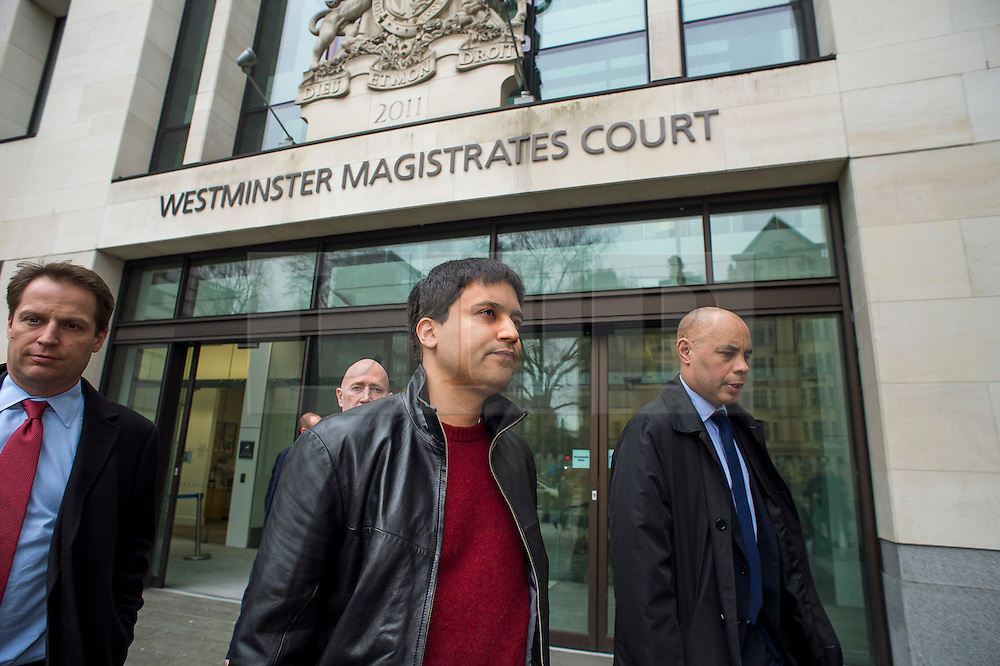 """© Licensed to London News Pictures. 23/03/2016. London, UK.""""Flash crash"""" Trader NAVINDER SINGH SARAO (centre) leaves Westminster Magistrates court in London where a Judge has ruled that he should be extradited to the USA. Sarao, nicknamed the Hound of Hounslow, is accused of contributing to the 2010 flash crash. He has been charged with 22 counts of fraud and market manipulation by the US authorities who want to extradite him. Photo credit: Ben Cawthra/LNP"""