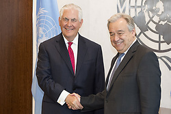 April 28, 2017 - New York, New York, U.S - US Secretary of State REX TILLERSON shakes hands with Secretary-General of the UN, ANTONIO GUTERRES, Secretary-General of the UN, at the United Nations. The two held a security meeting and discussed North Korea. (Credit Image: © Michael Brochstein via ZUMA Wire)