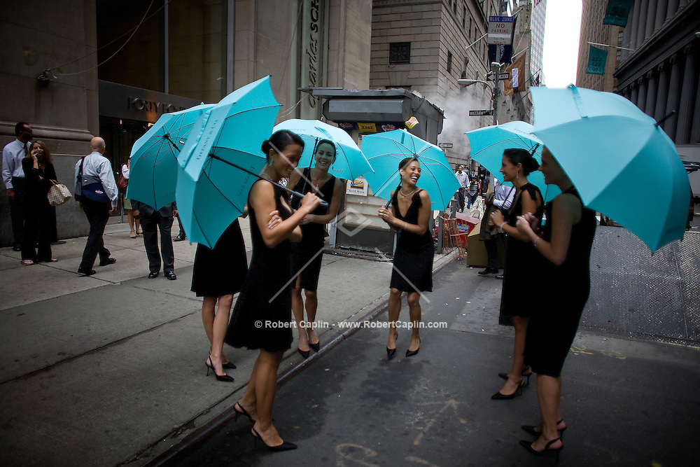Models are seen outside the new Wall Street Tiffany & Co. Oct. 10, 2007 the day Tiffany & Co. went public and for the opening of their new Wall Street store in New York.