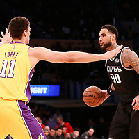 09 January 2018: Los Angeles Lakers center Brook Lopez (11) defends on Sacramento Kings center Willie Cauley-Stein (00) during the LA Lakers 99-86 victory over the Sacramento Kings, at the Staples Center, Los Angeles, California, USA.