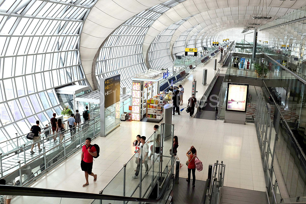 Departure gates in Suvarnabhumi Airport, Bangkok, Thailand. Suvarnabhumi Airport, also known as Bangkok International Airport (BKK), is one of two international airports serving Bangkok, Thailand. The airport is currently the main hub for Thai Airways International, Bangkok Airways and Orient Thai Airlines. It also serves as regional gateway and connecting point for various foreign carriers.