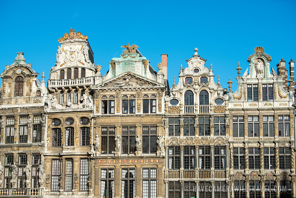 Historic guidhalls lining the northwest side of the Grand Place (La Grand-Place), a UNESCO World Heritage Site in central Brussels, Belgium. Lined with ornate, historic buildings, the cobblestone square is the primary tourist attraction in Brussels.