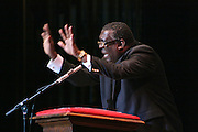 "19 January 2015-Santa Barbara, CA: The Arlington Theater Program;  Keynote Speaker, Dr. Broderick A. Huggins, Bishop.  Santa Barbara Honors Dr. Martin Luther King Jr. with a Day of Celebration.  The Santa Barbara MLK, Jr. Committee chose ""Drum Majors for Justice"" as it's theme for the day which included a Pre-March Program in De la Guerra Plaza followed by a march up State Street to the Arlington Theater for speakers, music and poetry.  The program concluded with a Community Lunch at the First United Methodist Church in Santa Barbara.  Photo by Rod Rolle"