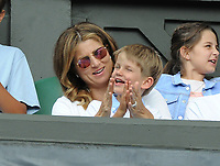 Tennis - 2019 Wimbledon Championships - Week One, Tuesday (Day Two)<br /> <br /> Men's Singles, 1st Round: Lloyd Harris (RSA) v Roger Federer (SUI)<br /> <br /> Roger Federer's Wife , Mirka with her son on Centre Court <br /> <br /> COLORSPORT/ANDREW COWIE