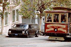 Arlen Ness parked in his 1977 chopped, channelled and sectioned Ford Van on Van Ness Avenue, San Francisco, CA. Photograph ©Michael Lichter 1987