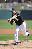 GLENDALE, AZ - MARCH 5:  Mark Buehrle #56 of the Chicago White Sox pitches against the Los Angeles Dodgers on March 5, 2010 at The Ballpark at Camelback Ranch in Glendale, Arizona. (Photo by Ron Vesely)