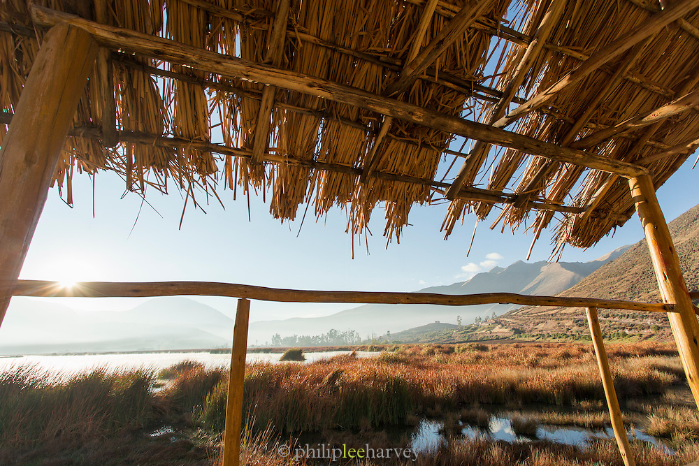 View from the wildlife watch tower at sunrise in the Huacarpay Valley, Sacred Valley, Peru, South America