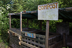 Sipson, UK. 5th June, 2018. A compost area is pictured at Grow Heathrow. Grow Heathrow is a squatted off-grid eco-community garden founded in 2010 on a previously derelict site close to Heathrow airport to rally support against government plans for a third runway and it has since made a significant educational and spiritual contribution to life in the Heathrow villages, which remain threatened by Heathrow airport expansion.