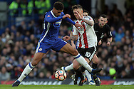 Ruben Loftus-Cheek of Chelsea (L) in action with Josh McEachran of Brentford (R) The Emirates FA Cup 4th round match, Chelsea v Brentford at Stamford Bridge in London on Saturday 28th January 2017.<br /> pic by Steffan Bowen, Andrew Orchard sports photography.