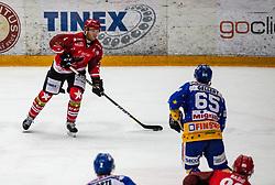 4# Andrej Tavzelj of Jesenice during ice hockey match between HK SIJ Acroni Jesenice and Asiago Hockey in Round #3 of Alps Hockey League 2018/19 , on September 22, 2018 in Podmezakla hall , Jesenice, Slovenia. Photo by Urban Meglic / Sportida