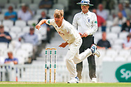 Sam Curran of Surrey bowling during the Specsavers County Champ Div 1 match between Surrey County Cricket Club and Kent County Cricket Club at the Kia Oval, Kennington, United Kingdom on 10 July 2019.