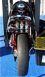 Guy Martin, sits in the cockpit of the Triumph Infor Rocket Streamliner as preparations continue for a land speed record attempt at the Bonneville Speedway in Utah, USA.