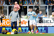 Leeds United striker Marcus Antonsson (10) leads players during warm up during the EFL Sky Bet Championship match between Burton Albion and Leeds United at the Pirelli Stadium, Burton upon Trent, England on 22 April 2017. Photo by Richard Holmes.