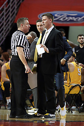 27 January 2018:  Ray Natili and Matt Lottich chat about an earlier call during a College mens basketball game between the Valparaiso Crusaders and Illinois State Redbirds in Redbird Arena, Normal IL