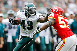 Philadelphia Eagles FB Leonard Weaver #43 give a stiff arm during the NFL game between the Kansas City Chiefs and the Philadelphia Eagles on September 27th 2009. The Eagles won 34-14 at Lincoln Financial Field in Philadelphia, Pennsylvania. (Photo By Brian Garfinkel)
