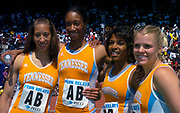 The Tennessee women's 4 x 800-meter relay (from left) Leslie Treheme, Kameisha Bennett, Nicole Cook and Brook Novak pose after winning in 8:21.13 in the110th Penn Relays at the University of Pennsylvania's Franklin Field on Saturday, April 24, 2004 in Philadelphia. It was the meet's fastest time since 1984.