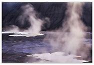 Rising steam at Mammoth Hot Spring Just before dawn, Yellowstone National Park, Wyoming, USA