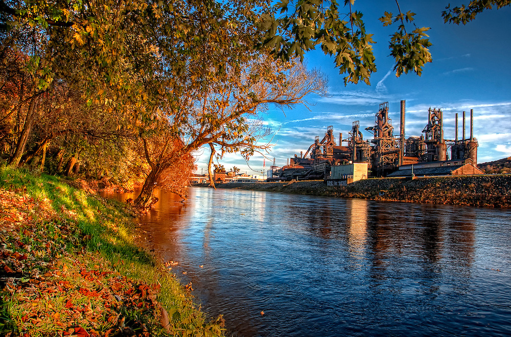 Some days the towpath is cast with a magical light in late autumn. Here, the sun casts a golden glow over the Bethlehem Steel and the banks of the Lehigh River.