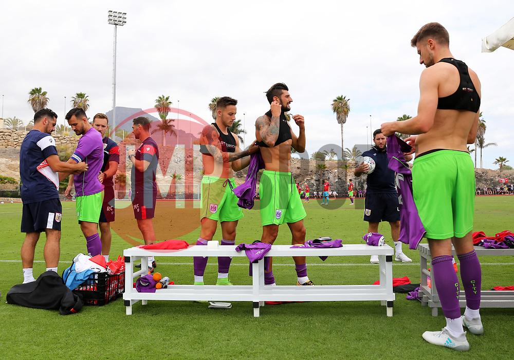 Bristol City players prepare before kick off - Mandatory by-line: Matt McNulty/JMP - 22/07/2017 - FOOTBALL - Tenerife Top Training - Costa Adeje, Tenerife - Bristol City v Atletico Union Guimar  - Pre-Season Friendly