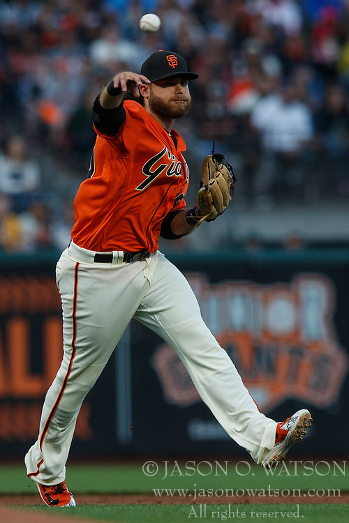 SAN FRANCISCO, CA - JULY 13: Brandon Crawford #35 of the San Francisco Giants throws to first base after fielding a ground ball against the Oakland Athletics during the third inning at AT&T Park on July 13, 2018 in San Francisco, California. The San Francisco Giants defeated the Oakland Athletics 7-1. (Photo by Jason O. Watson/Getty Images) *** Local Caption *** Brandon Crawford