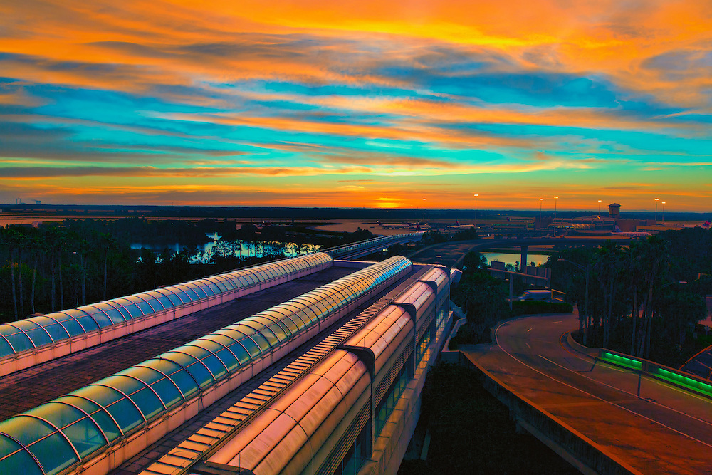 A morning sunrise from the top of the parking garage