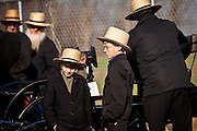 Young Amish boys watch the auction of horse buggies during the Annual Mud Sale to support the Fire Department  in Gordonville, PA.