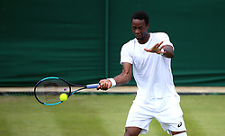 Gael Monfils in action on day three of the Wimbledon Championships at the All England Lawn Tennis and Croquet Club, Wimbledon.