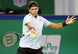 SHANGHAI, Oct. 12, 2017  Juan Martin Del Potro of Argentina returns the ball during the singles third round match against Alexander Zverev of Germany at 2017 ATP Shanghai Masters tennis tournament in Shanghai, east China, on Oct. 12, 2017. Juan Martin Del Potro won 2-1.   wll) (Credit Image: © Fan Jun/Xinhua via ZUMA Wire)