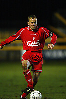 Fotball: Liverpool Vegard Heggem in action against Leeds during the Reserve match at Haigh Avenue, Southport. 150102<br />