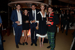 Johnnie Walker Gold Label Reserve Finale Celebration Party aboard the John Walker & Sons Voyager moored at the Prince of Wales Docks, Leith, Edinburgh, Scotland on 14th August 2013.<br /> Picture shows:-Left to right, Lord Tommy Fitzalan-Howard, Kate Parry-Crooke, Edward Taylor, Anna Freemantle and Archie Kelly.