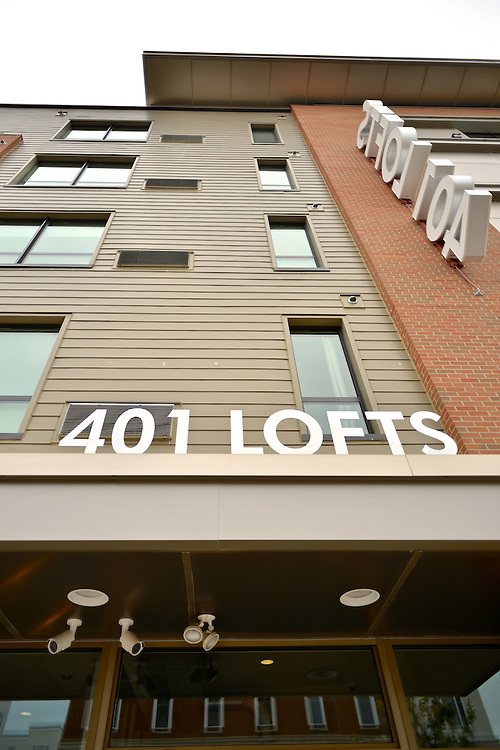 Entrance signage of the 401 Lofts apartments.
