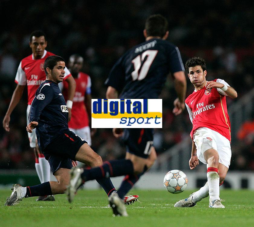 Photo: Tom Dulat.<br /> Arsenal v Slavia Prague. Group H, UEFA Champions League. 23/10/2007.<br /> Cesc Fabregas of Arsenal kicks the ball.