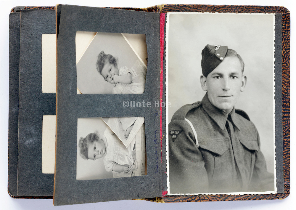 British soldier portrait with studio photo's of his child as a toddler