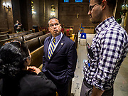 "18 APRIL 2017 - MINNEAPOLIS, MN: Rep. KEITH ELLISON, D-MN 5th District, talks to constituents at a ""Town Hall"" style community meeting related to immigration at Incarnation Catholic Church in Minneapolis, MN. About 200 people attended the meeting.     PHOTO BY JACK KURTZ"