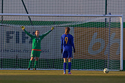 ZENICA, BOSNIA AND HERZEGOVINA - Tuesday, November 28, 2017: Wales' goalkeeper Laura O'Sullivan prepares to face a penalty from Bosnia and Herzegovina's Milena Nikolić during the FIFA Women's World Cup 2019 Qualifying Round Group 1 match between Bosnia and Herzegovina and Wales at the FF BH Football Training Centre. (Pic by David Rawcliffe/Propaganda)
