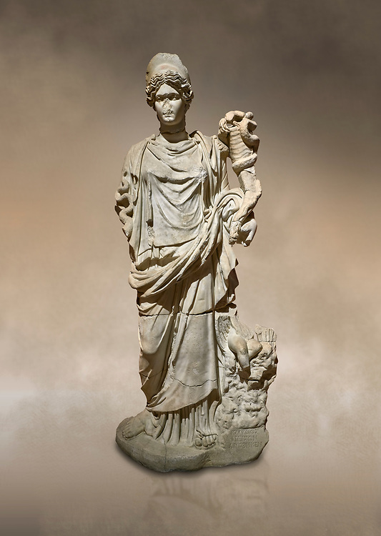 Roman statue of Hygieia. Marble. Perge. 2nd century AD. Inv no .Antalya Archaeology Museum; Turkey. Against a warm art background.<br /> <br />  Hygieia was one of the Aeclepiadae; the sons and daughters of the god of medicine; Asclepius; and the goddess of healing; Epione. She was the goddess of health; cleanliness and hygiene. .<br /> <br /> If you prefer to buy from our ALAMY STOCK LIBRARY page at https://www.alamy.com/portfolio/paul-williams-funkystock/greco-roman-sculptures.html . Type -    Antalya     - into LOWER SEARCH WITHIN GALLERY box - Refine search by adding a subject, place, background colour, museum etc.<br /> <br /> Visit our ROMAN WORLD PHOTO COLLECTIONS for more photos to download or buy as wall art prints https://funkystock.photoshelter.com/gallery-collection/The-Romans-Art-Artefacts-Antiquities-Historic-Sites-Pictures-Images/C0000r2uLJJo9_s0