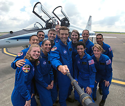 Jun 7, 2017 - Houston, Texas, U.S. - NASA's 2017 astronaut candidates stop to take a group photo while getting fitted for flight suits at Ellington Field near Johnson Space Center in Houston. After receiving a record-breaking number of applications to join an exciting future of space exploration, NASA has selected its largest astronaut class since 2000. Rising to the top of more than 18,300 applicants, NASA chose these 12 women and men as the agency's new astronaut candidates. Pictured are, front row, left to right, Zena Cardman, Jasmin Moghbeli, Robb Kulin, Jessica Watkins, Loral O'hara; back row, left to right, Jonny Kim, Frank Rubio, Matthew Dominick, Warren Hoburg, Kayla Barron, Bob Hines, and Raja Chari. (Credit Image: © NASA/via ZUMA Wire/ZUMAPRESS.com)