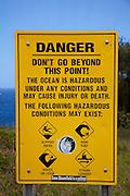 Danger sign, Bellstone tidal pools,aka Olivine Pools, Maui, Hawaii