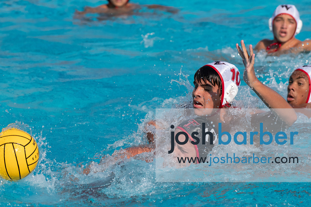 Tustin's Kaleb Anderson, Valley View's Brady Castillo during the CIFS-SS Division 6 Championship Final at William Woollett Jr. Aquatic Center on Saturday, November 10, 2018 in Irvine, Calif. Valley View won 10-9. (Photo by Josh Barber, Contributing Photographer)