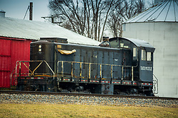 Locomotives are parked on a line in Wapella IL that is operated by Tate and Lyle.