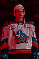 KELOWNA, BC - FEBRUARY 15: Jake Lee #21 of the Kelowna Rockets lines up against the Red Deer Rebels at Prospera Place on February 15, 2020 in Kelowna, Canada. (Photo by Marissa Baecker/Shoot the Breeze)