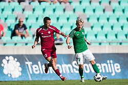 David Tijanic of NK Triglav Kranj and Stefan Savic of NK Olimpija Ljubljana during football match between NK Olimpija Ljubljana and NK Triglav Kranj in Round #31 of Prva liga Telekom Slovenije 2017/18, on May 6, 2018 in SRC Stozice, Ljubljana, Slovenia. Photo by Urban Urbanc / Sportida