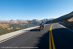 Terry Richardson riding his 1932 Harley-Davidson VL during Stage 10 (278 miles) of the Motorcycle Cannonball Cross-Country Endurance Run, which on this day ran from Golden to Grand Junction, CO., USA. Monday, September 15, 2014.  Photography ©2014 Michael Lichter.