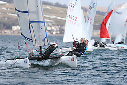 Day 1 of the RYA Youth National Championships 2013 held at Largs Sailing Club, Scotland from the 31st March - 5th April. ..Spitfire and 420 Fleet with GBR 145, Tom BRITZ, Abbie HEWITT, Royal Lymington YC..For Further Information Contact..Matt Carter.Racing Communications Officer.Royal Yachting Association.M: 07769 505203.E: matt.carter@rya.org.uk ..Image Credit Marc Turner / RYA..