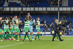 LIVERPOOL, ENGLAND - Tuesday, August 23, 2016: Yeovil Town manager Darren Way leads his players to applaud their fans after the Football League Cup 2nd Round match at Goodison Park against Everton. (Pic by Gavin Trafford/Propaganda)