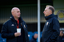 RHYL, WALES - Wednesday, November 14, 2018: Wales Under 19 manager Paul Bodin (R) and Wales intermediate teams manager Robert Page before the UEFA Under-19 Championship 2019 Qualifying Group 4 match between Wales and Scotland at Belle Vue. (Pic by Paul Greenwood/Propaganda)